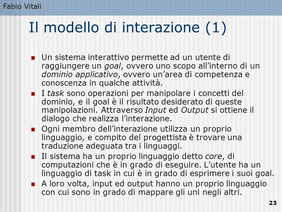 Il modello di interazione (1)