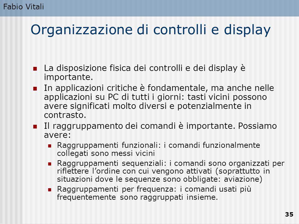 Organizzazione di controlli e display