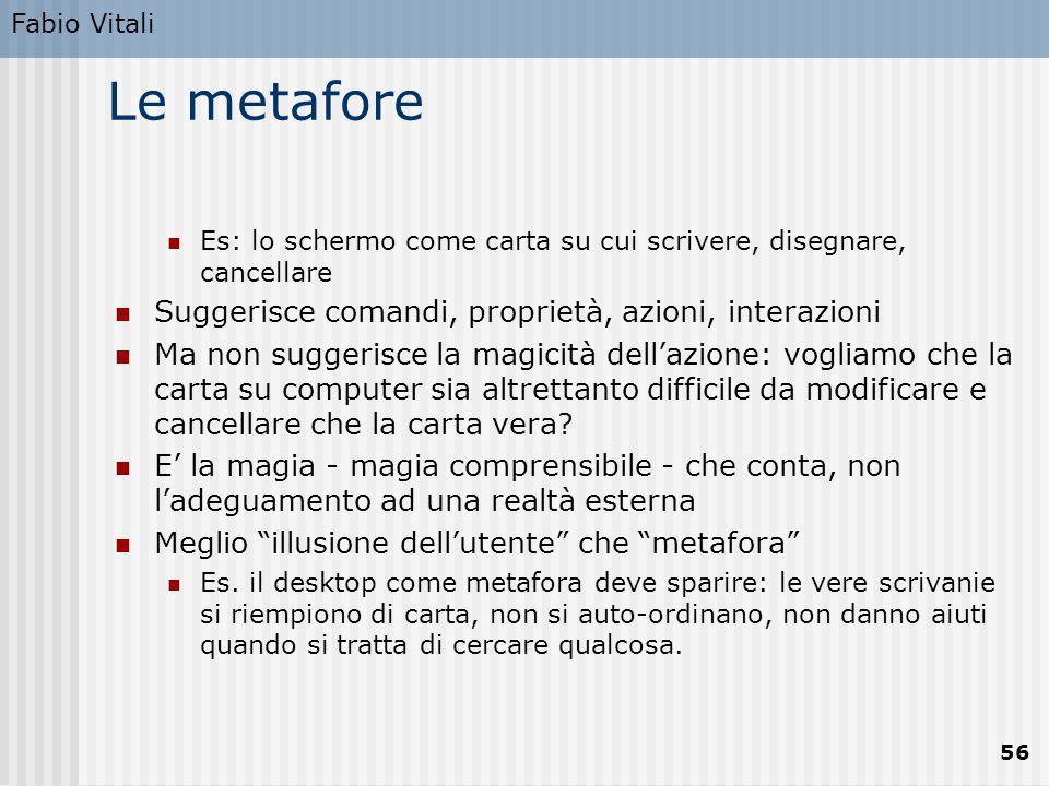 Le metafore Suggerisce comandi, proprietà, azioni, interazioni