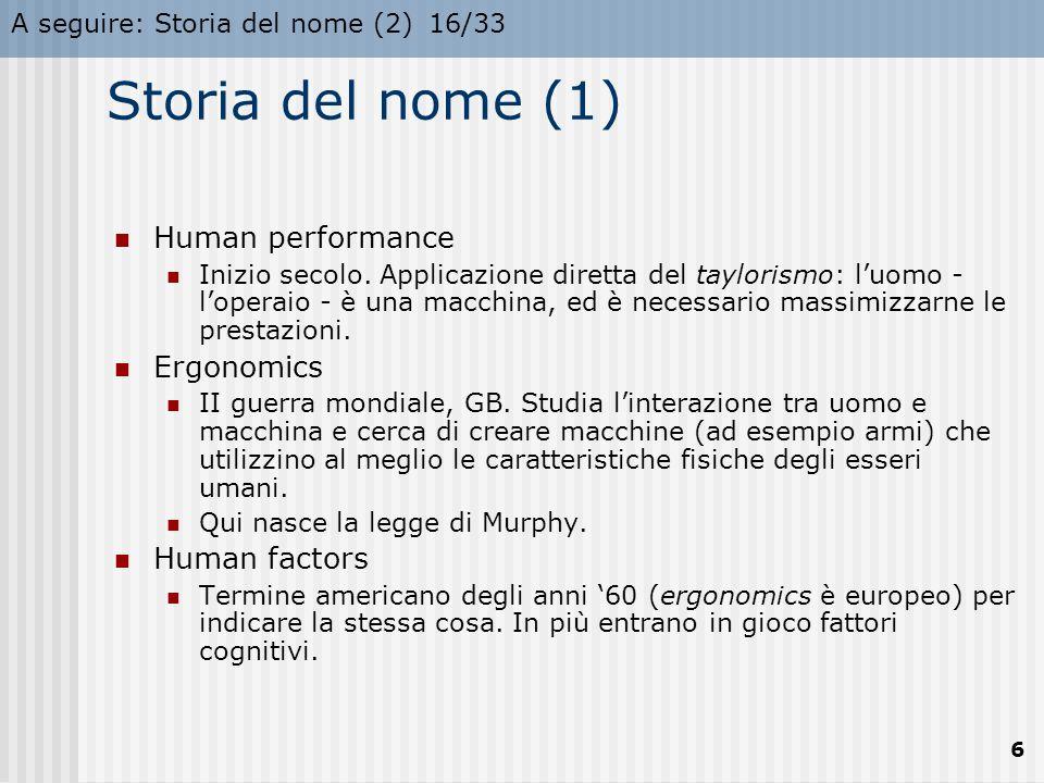 Storia del nome (1) Human performance Ergonomics Human factors
