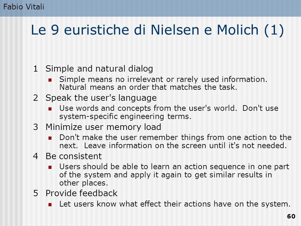 Le 9 euristiche di Nielsen e Molich (1)