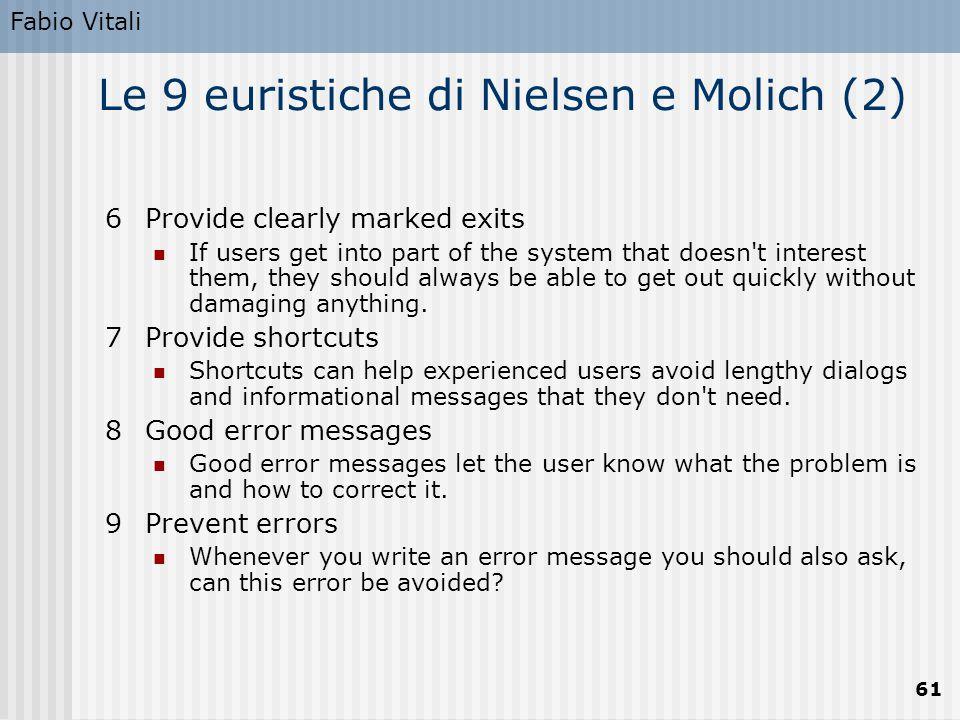 Le 9 euristiche di Nielsen e Molich (2)