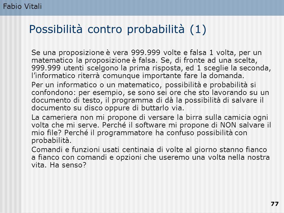 Possibilità contro probabilità (1)