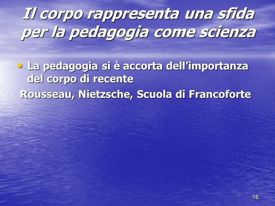 Il corpo rappresenta una sfida per la pedagogia come scienza