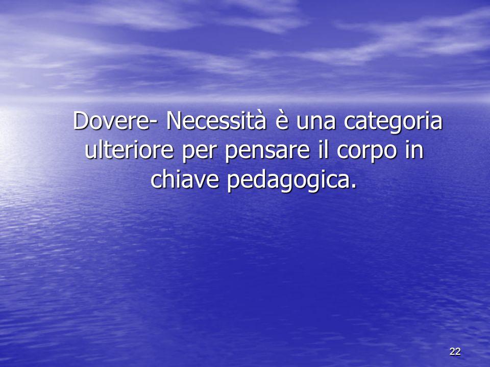 Dovere- Necessità è una categoria ulteriore per pensare il corpo in chiave pedagogica.