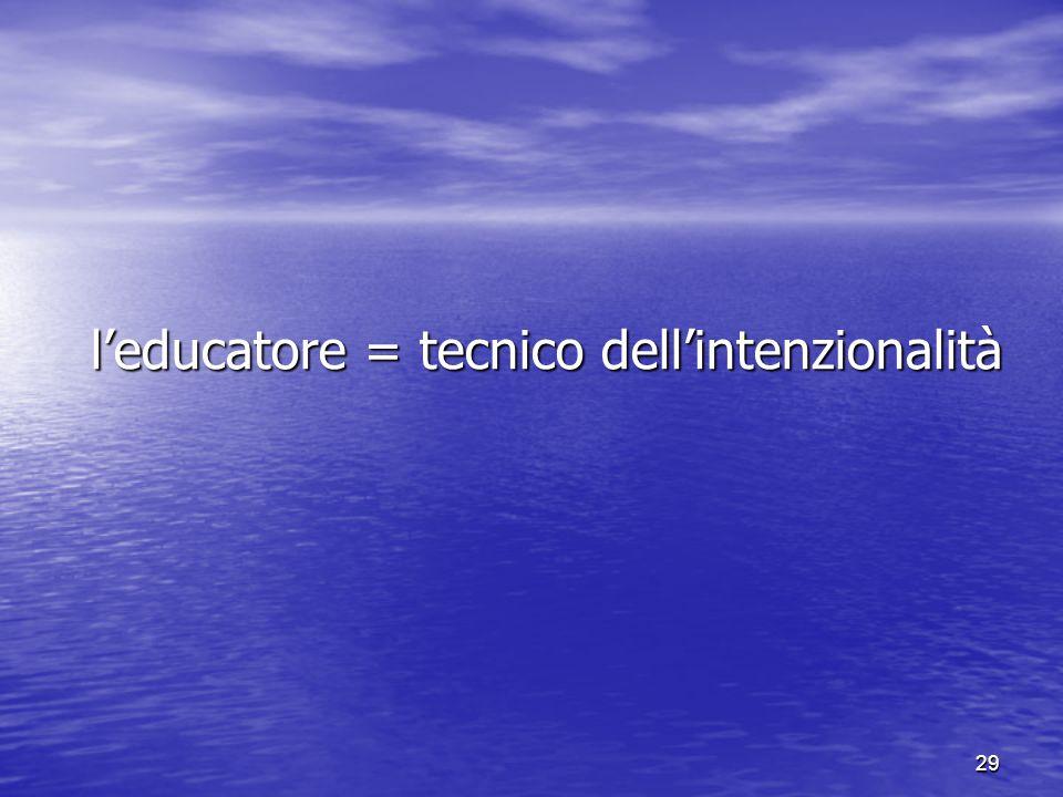 l'educatore = tecnico dell'intenzionalità