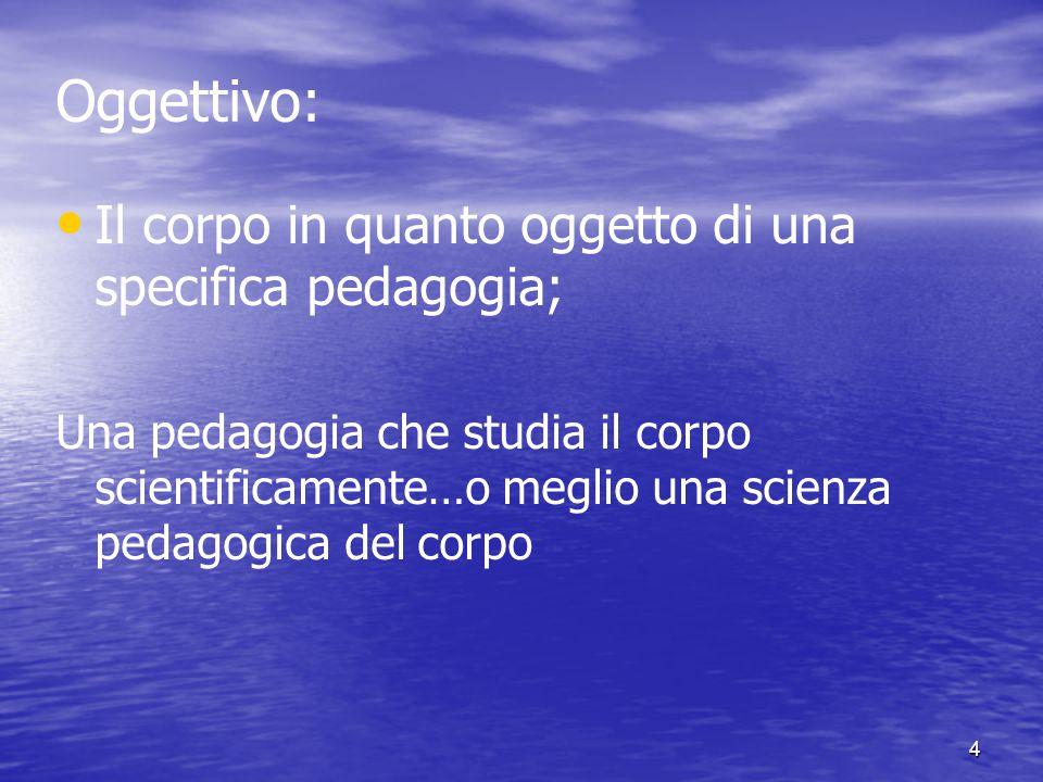 Oggettivo: Il corpo in quanto oggetto di una specifica pedagogia;