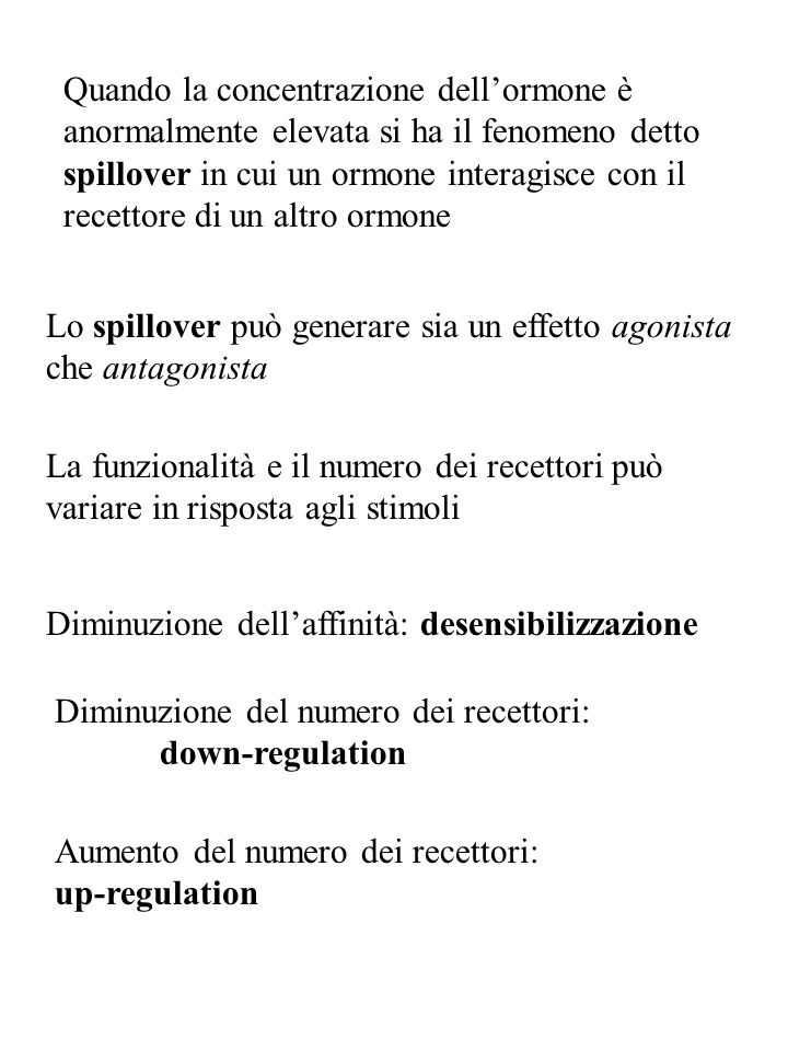 Quando la concentrazione dell'ormone è anormalmente elevata si ha il fenomeno detto spillover in cui un ormone interagisce con il recettore di un altro ormone