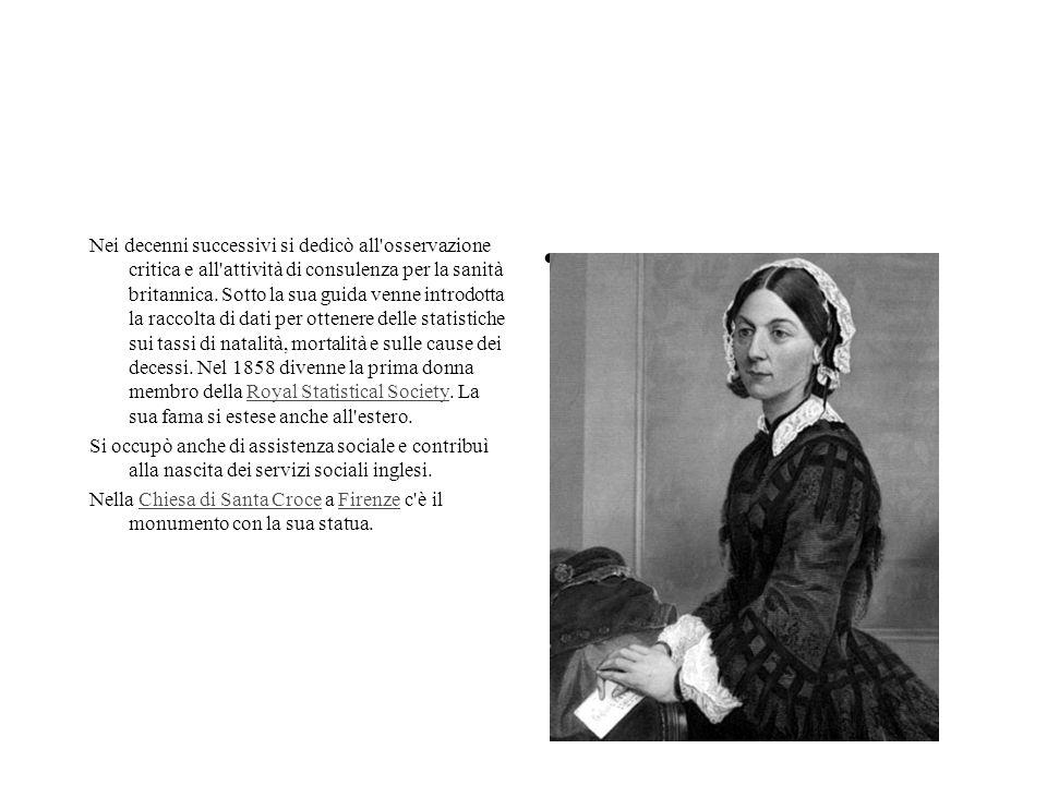 Nei decenni successivi si dedicò all osservazione critica e all attività di consulenza per la sanità britannica. Sotto la sua guida venne introdotta la raccolta di dati per ottenere delle statistiche sui tassi di natalità, mortalità e sulle cause dei decessi. Nel 1858 divenne la prima donna membro della Royal Statistical Society. La sua fama si estese anche all estero.