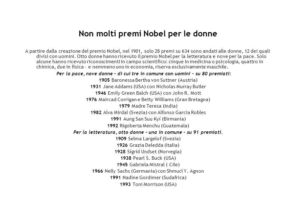 Non molti premi Nobel per le donne