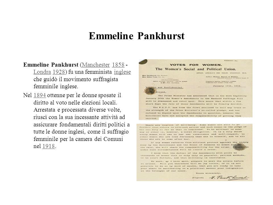 Emmeline Pankhurst Emmeline Pankhurst (Manchester 1858 - Londra 1928) fu una femminista inglese che guidò il movimento suffragista femminile inglese.