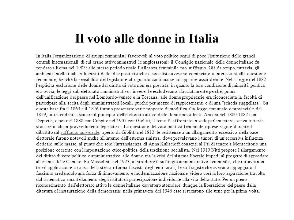 Il voto alle donne in Italia