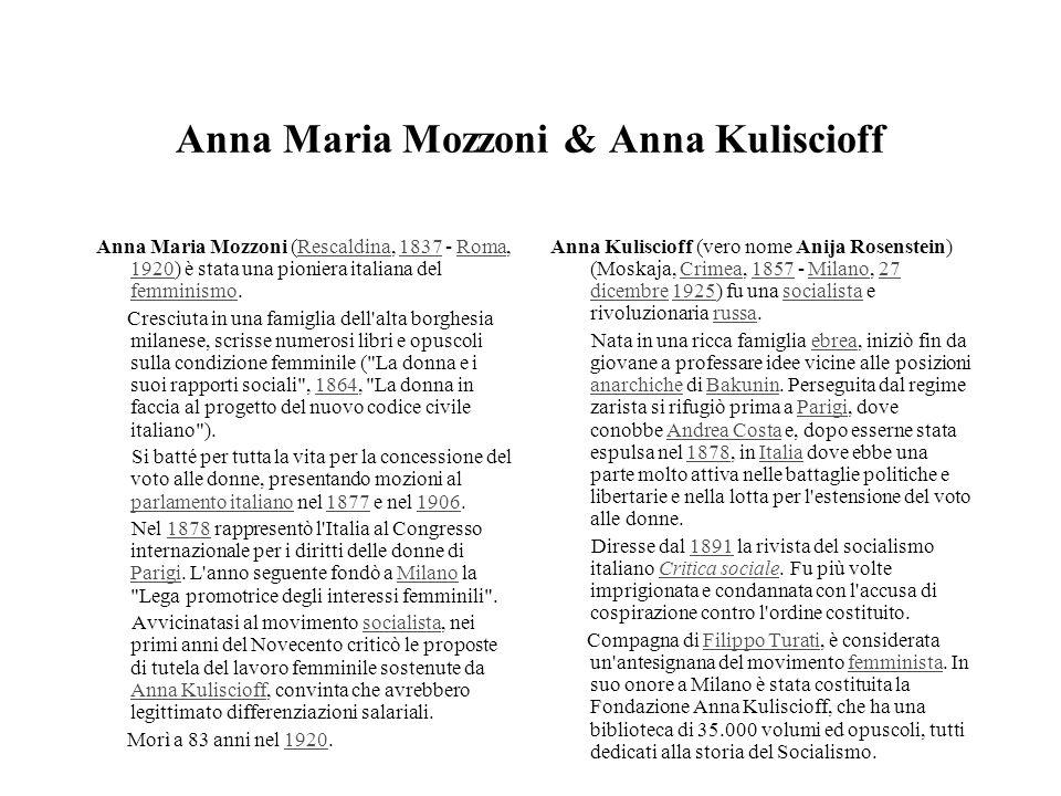 Anna Maria Mozzoni & Anna Kuliscioff