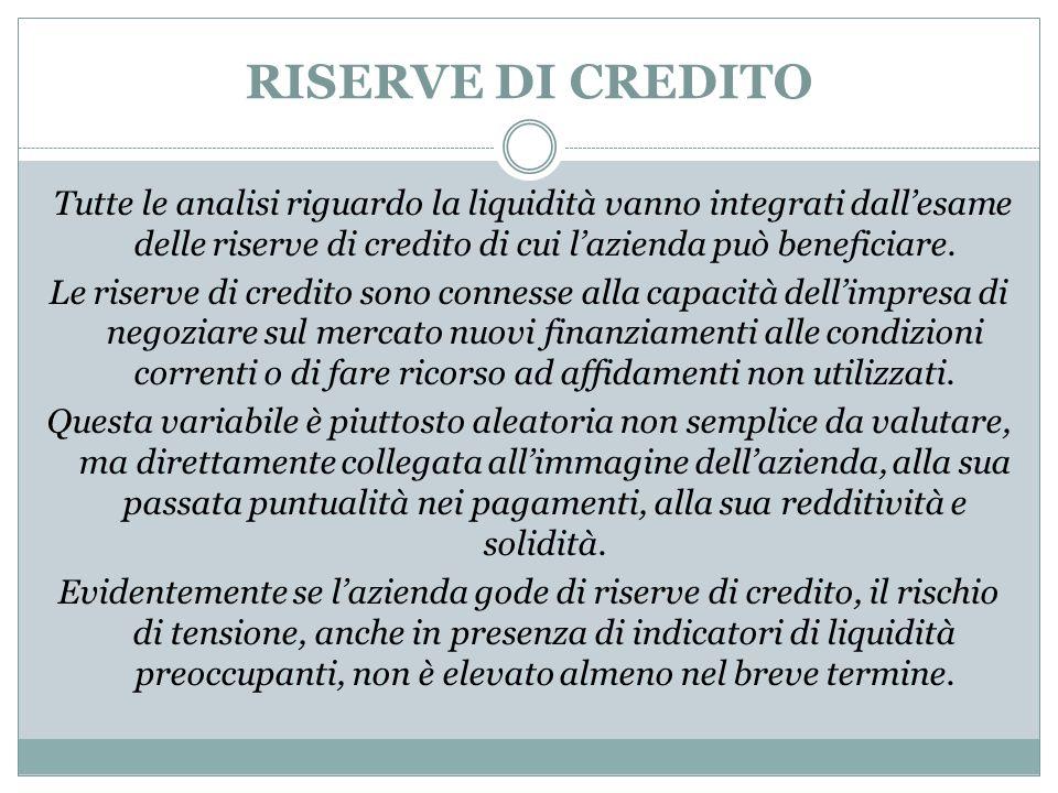 RISERVE DI CREDITO Tutte le analisi riguardo la liquidità vanno integrati dall'esame delle riserve di credito di cui l'azienda può beneficiare.
