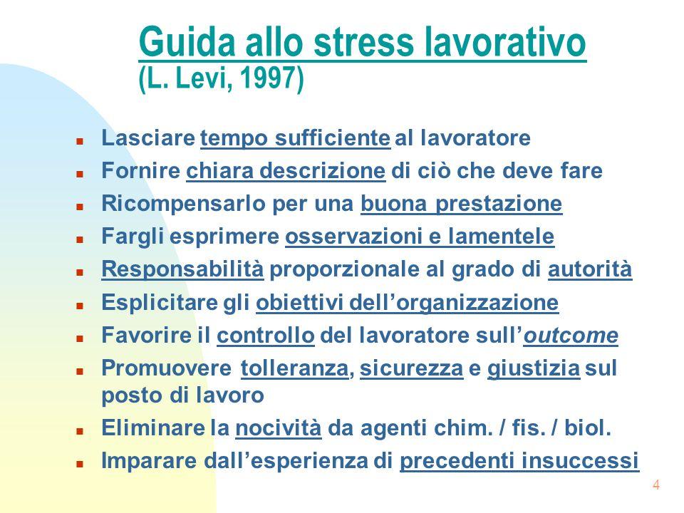 Guida allo stress lavorativo (L. Levi, 1997)