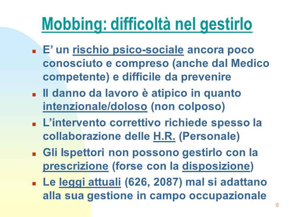 Mobbing: difficoltà nel gestirlo