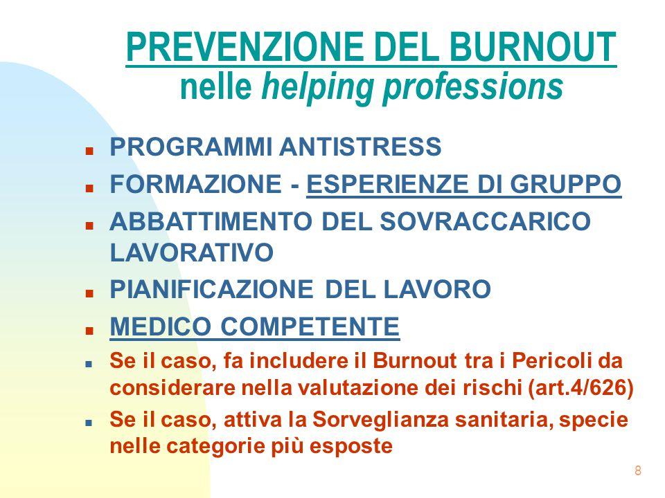 PREVENZIONE DEL BURNOUT nelle helping professions