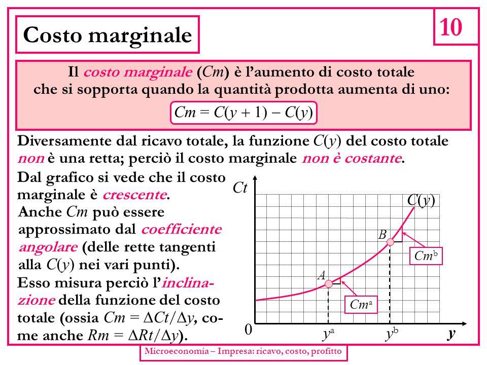 10 Costo marginale Il costo marginale (Cm) è l'aumento di costo totale