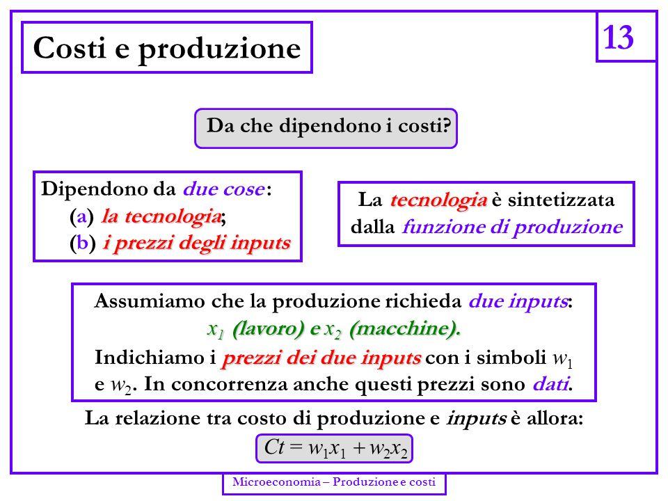 13 Costi e produzione Da che dipendono i costi