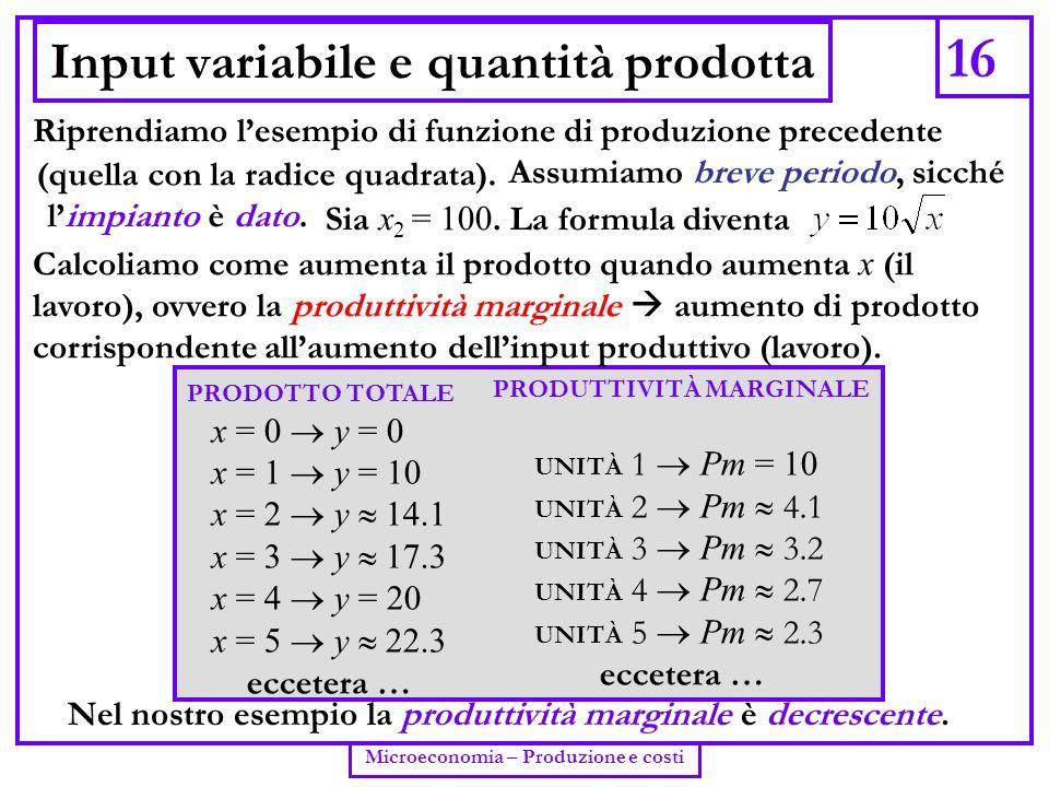 Input variabile e quantità prodotta