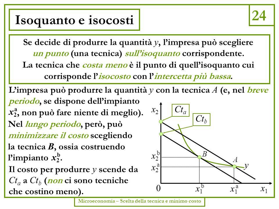 24 Isoquanto e isocosti. Se decide di produrre la quantità y, l'impresa può scegliere. un punto (una tecnica) sull'isoquanto corrispondente.