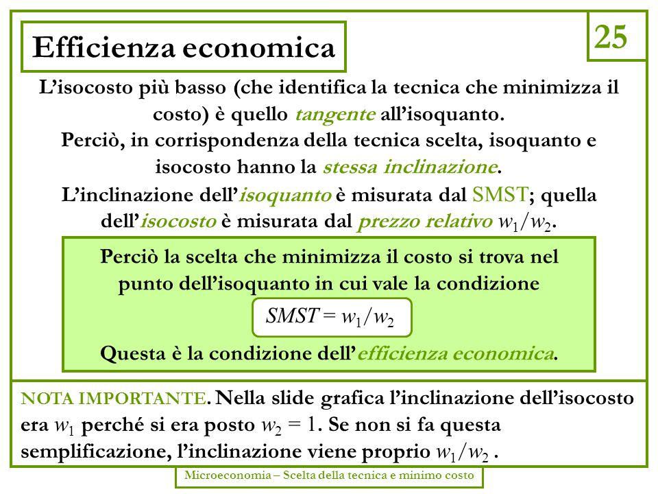25 Efficienza economica. L'isocosto più basso (che identifica la tecnica che minimizza il costo) è quello tangente all'isoquanto.