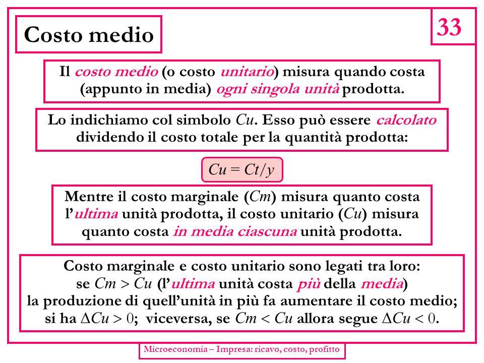 33 Costo medio Il costo medio (o costo unitario) misura quando costa