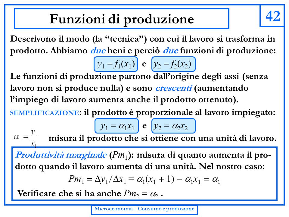 Funzioni di produzione