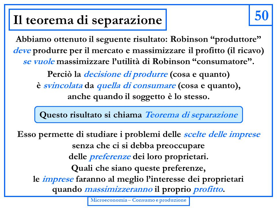 Il teorema di separazione