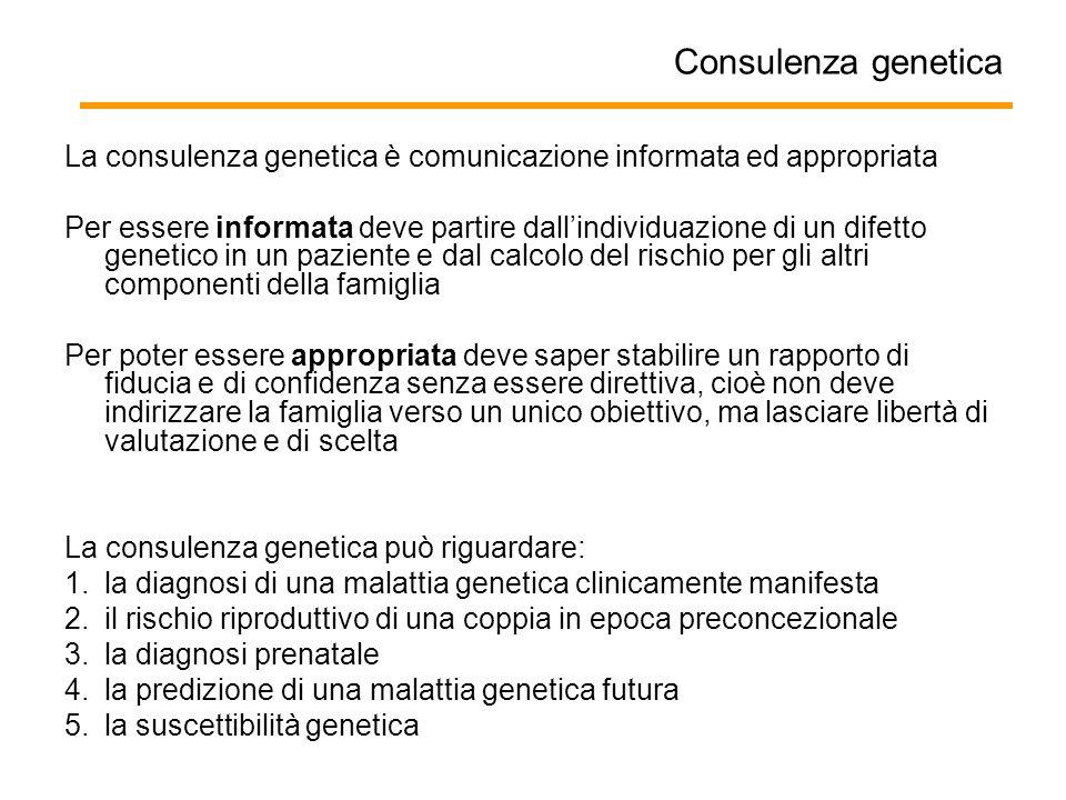 Consulenza genetica La consulenza genetica è comunicazione informata ed appropriata.