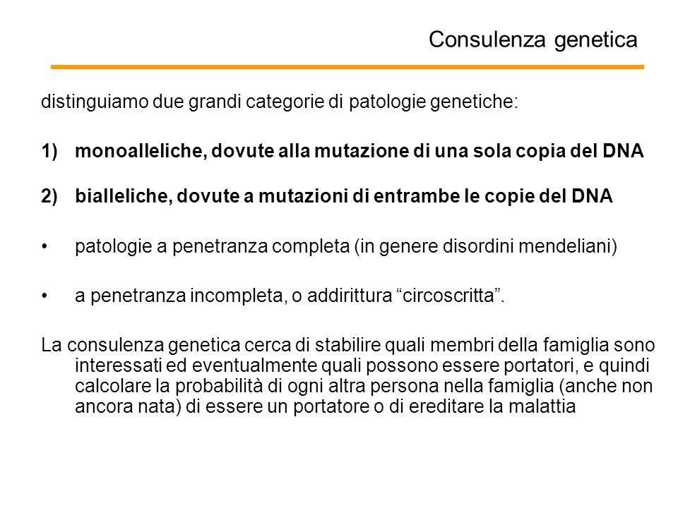 Consulenza genetica distinguiamo due grandi categorie di patologie genetiche: monoalleliche, dovute alla mutazione di una sola copia del DNA.