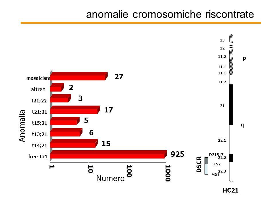 anomalie cromosomiche riscontrate