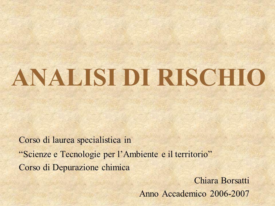 ANALISI DI RISCHIO Corso di laurea specialistica in