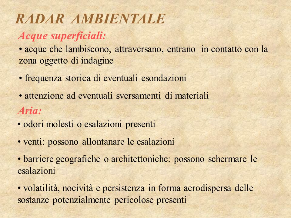 RADAR AMBIENTALE Acque superficiali: Aria: