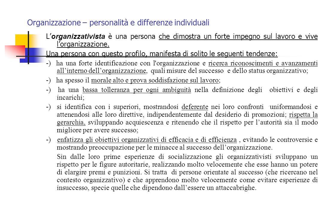 Organizzazione – personalità e differenze individuali
