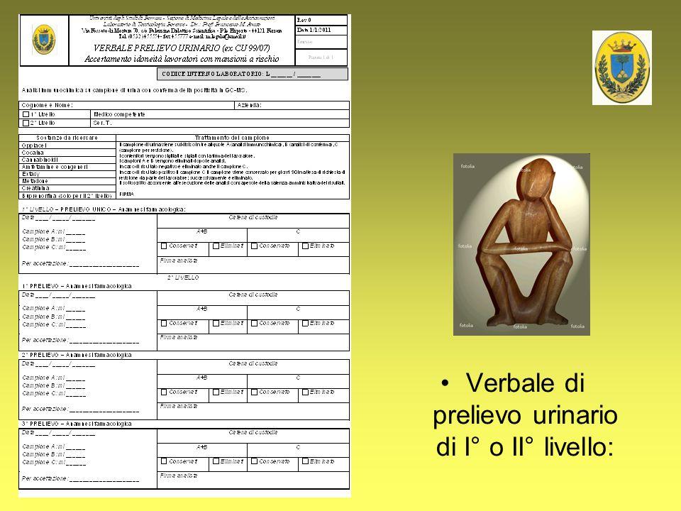 Verbale di prelievo urinario di I° o II° livello: