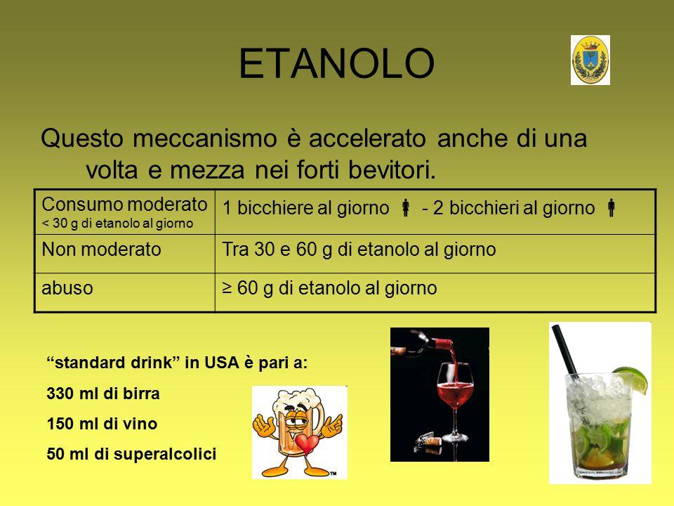 ETANOLO Questo meccanismo è accelerato anche di una volta e mezza nei forti bevitori. Consumo moderato < 30 g di etanolo al giorno.