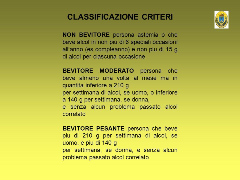 CLASSIFICAZIONE CRITERI