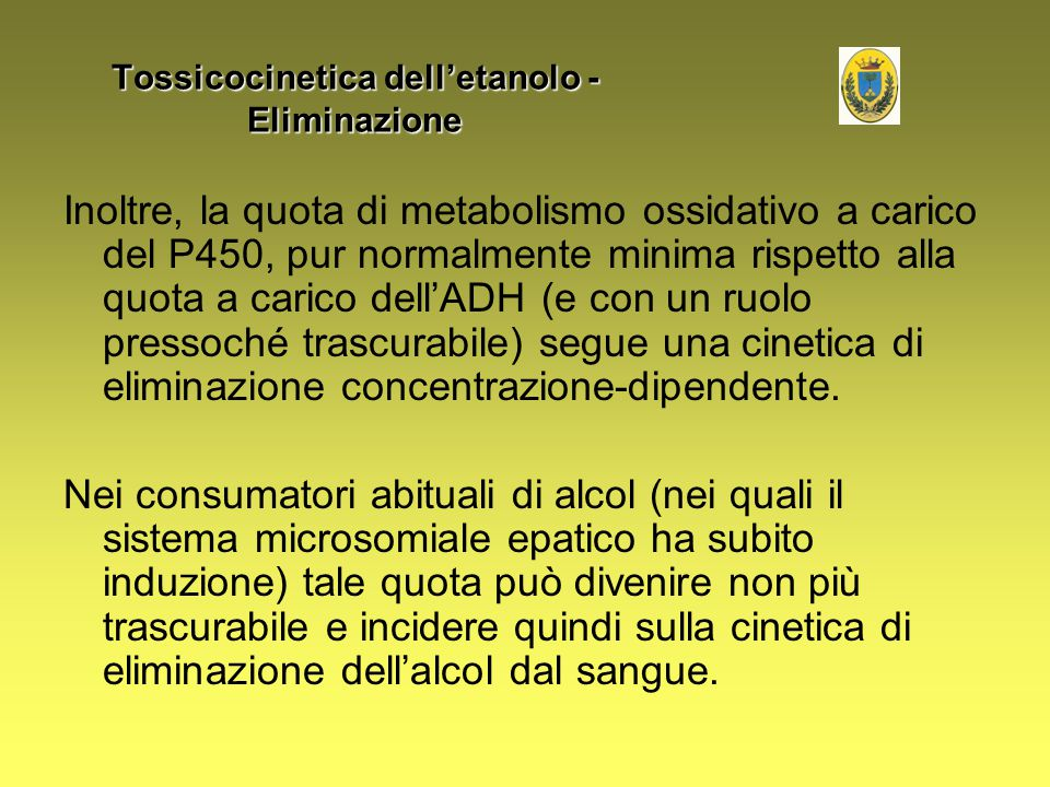 Tossicocinetica dell'etanolo - Eliminazione
