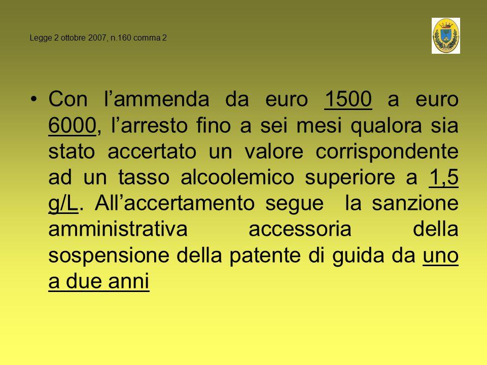 Legge 2 ottobre 2007, n.160 comma 2