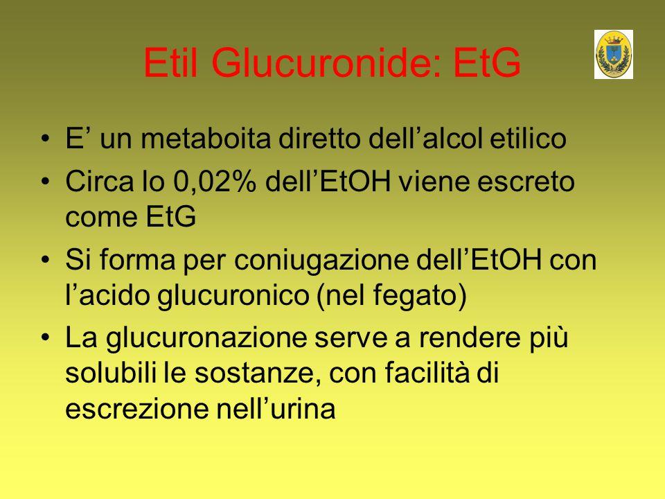 Etil Glucuronide: EtG E' un metaboita diretto dell'alcol etilico
