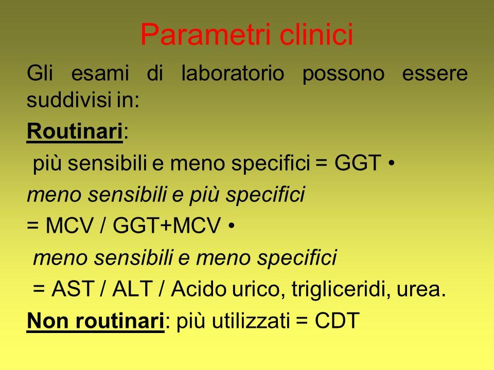 Parametri clinici Gli esami di laboratorio possono essere suddivisi in: Routinari: più sensibili e meno specifici = GGT •