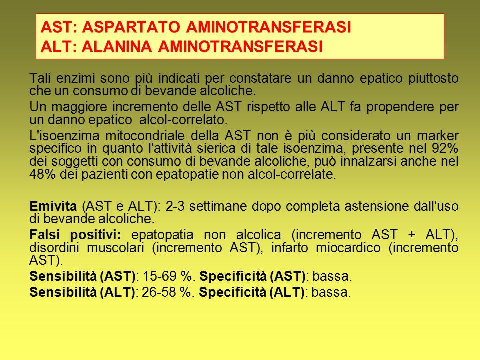 AST: ASPARTATO AMINOTRANSFERASI ALT: ALANINA AMINOTRANSFERASI