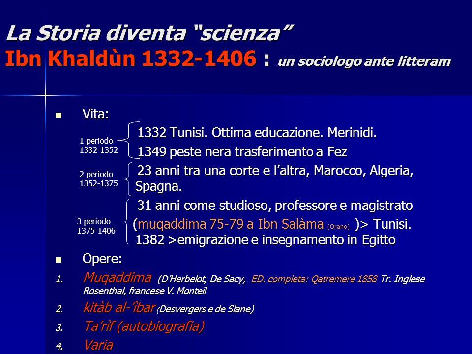 La Storia diventa scienza Ibn Khaldùn 1332-1406 : un sociologo ante litteram