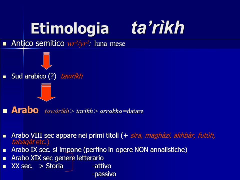 Etimologia ta'rìkh Arabo tawàrìkh > tarìkh > arrakha =datare