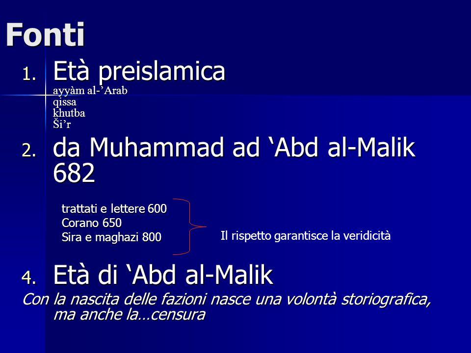 Fonti Età preislamica ayyàm al-'Arab qissa khutba Ši'r