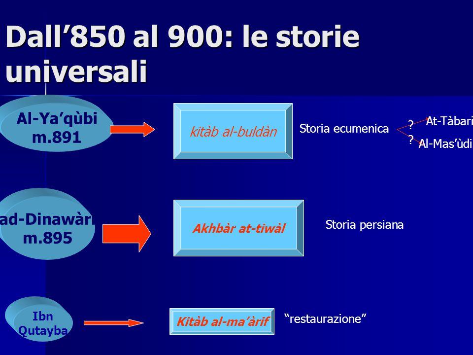 Dall'850 al 900: le storie universali