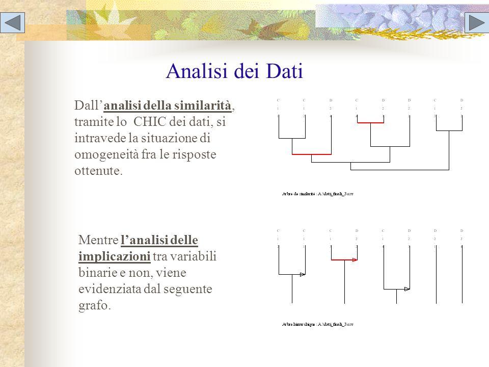 Analisi dei Dati Dall'analisi della similarità, tramite lo CHIC dei dati, si intravede la situazione di omogeneità fra le risposte ottenute.