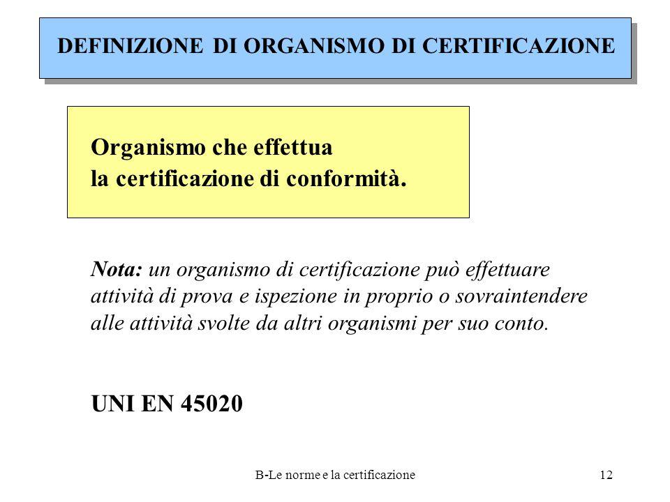 B-Le norme e la certificazione