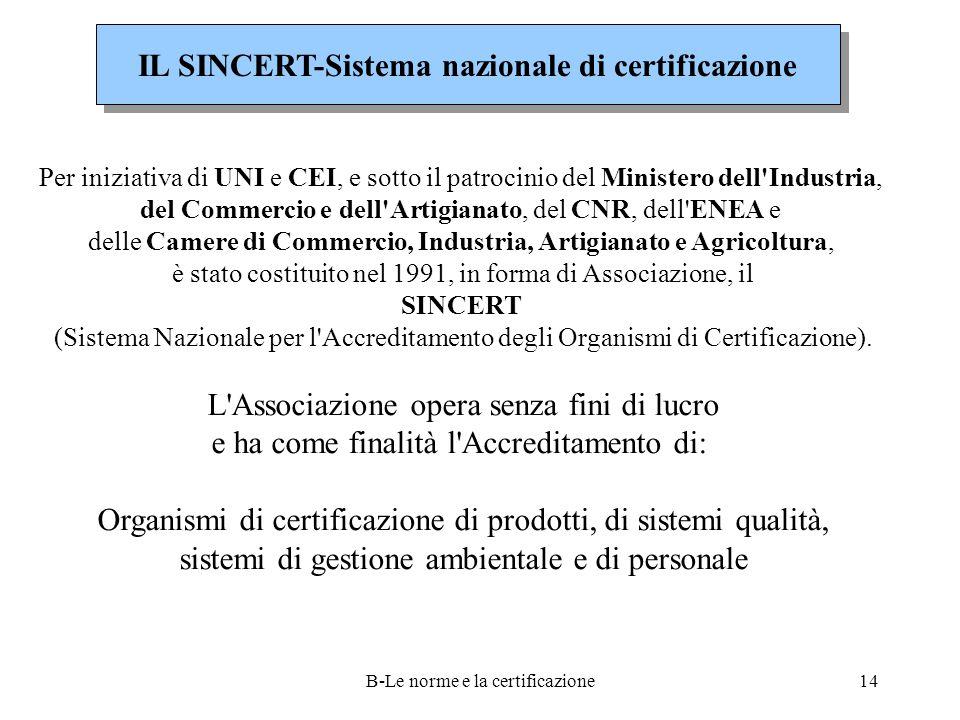 IL SINCERT-Sistema nazionale di certificazione